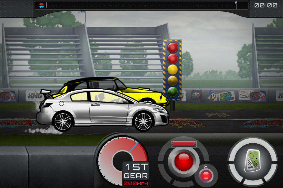 Why the gas button while racing? Players don't need to control their speed, they just need to go forward!