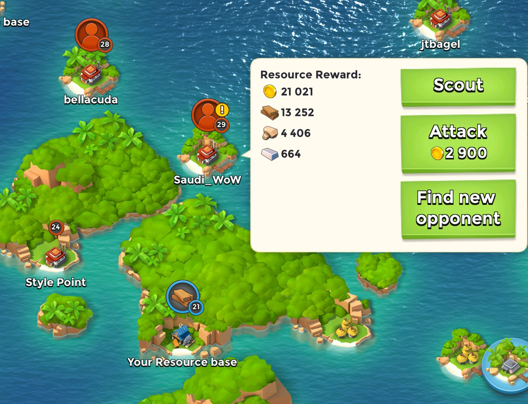 """Boom beach warns players when their opponent's level is too high, and gives players the ability to """"scout"""" before committing. Ensuring players can make the right choice about who to attack based on their Stat level."""