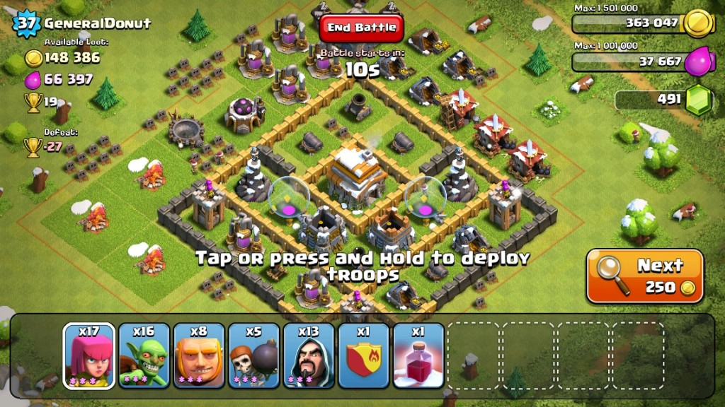 Clash of Clans focuses on Stats and Skill. Stats comes from Units & Buildings. Skill comes from the player being able to choose location of attack.