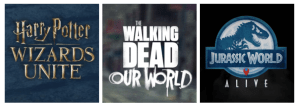 Three Location-based games, Harry Potter wizards unite, The walking dead our world, jurassic world Alive
