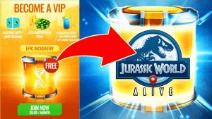 Jurassic World Alive become a VIP, epic incubator