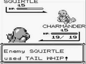 pokemon battle between squirtle and charmander. squirtle used tail whip