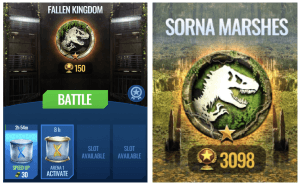 Jurassic World Alive chest slots and arena tiers, fallen kingdom and sorna marshes